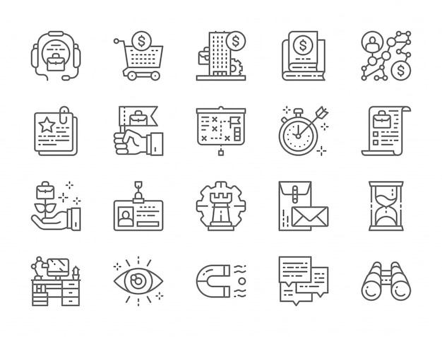 Conjunto de ícones de linha de estratégia de negócios