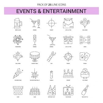 Conjunto de ícones de linha de eventos e entretenimento - 25 estilo de contorno esboçado