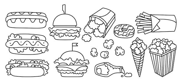 Conjunto de ícones de linha de fast food, cachorro-quente, hambúrguer, batata, pepitas, ketchup e pipoca, coleção