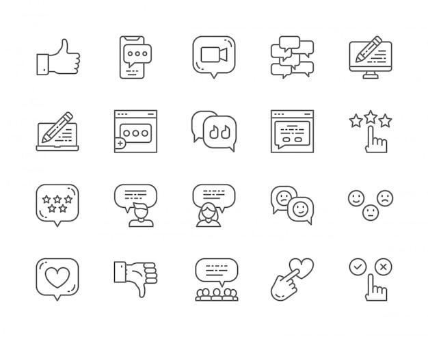 Conjunto de ícones de linha de feedback.