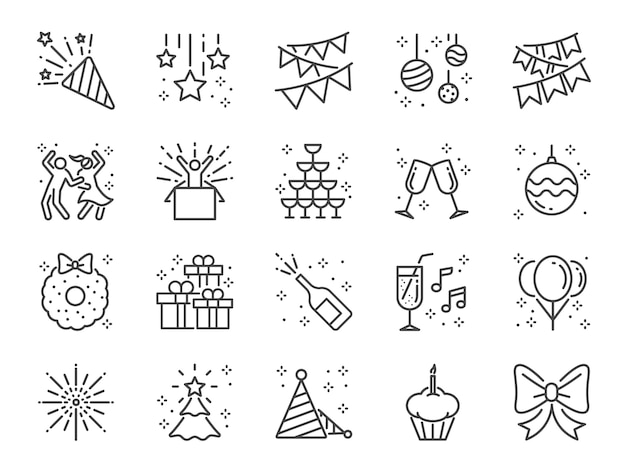 Conjunto de ícones de linha de festa.