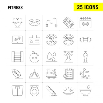 Conjunto de ícones de linha de fitness: apple, comida, fitness, sangue, droop, fitness, cartão de identificação, conjunto de ícones
