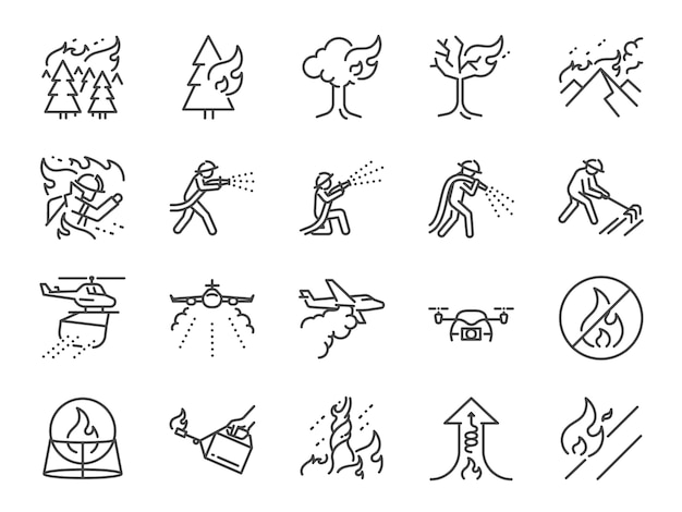 Conjunto de ícones de linha de fogo.
