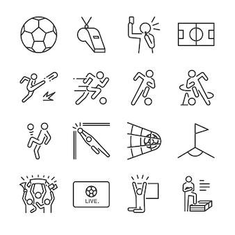 Conjunto de ícones de linha de futebol.