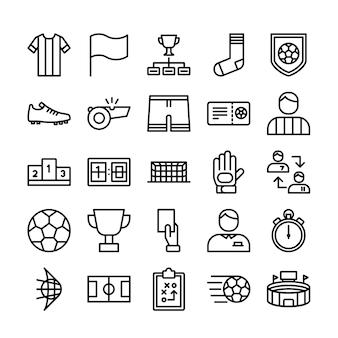 Conjunto de ícones de linha de futebol