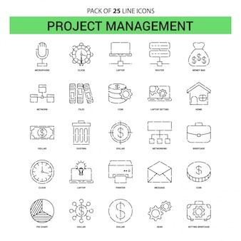 Conjunto de ícones de linha de gerenciamento de projeto - 25 estilo de contorno traçado