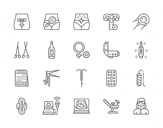 Conjunto de ícones de linha de ginecologia.