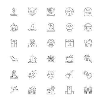 Conjunto de ícones de linha de halloween
