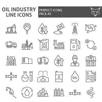 Conjunto de ícones de linha de indústria de petróleo