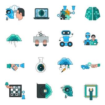Conjunto de ícones de linha de inteligência artificial