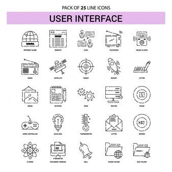 Conjunto de ícones de linha de interface de usuário - 25 estilo de contorno tracejado