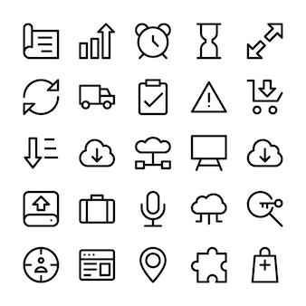 Conjunto de ícones de linha de interface de usuário