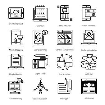 Conjunto de ícones de linha de interface do usuário