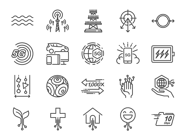 Conjunto de ícones de linha de internet 5g.
