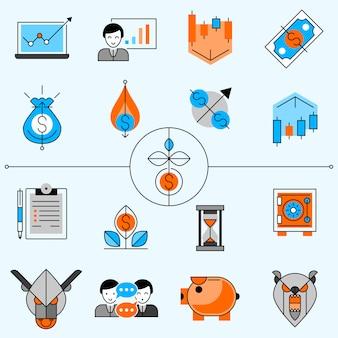 Conjunto de ícones de linha de investimento