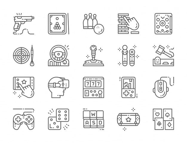 Conjunto de ícones de linha de jogo