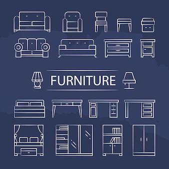 Conjunto de ícones de linha de lâmpadas e mobiliário de sala de estar