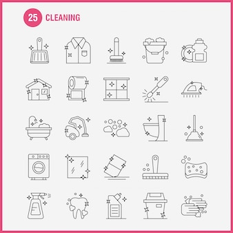 Conjunto de ícones de linha de limpeza