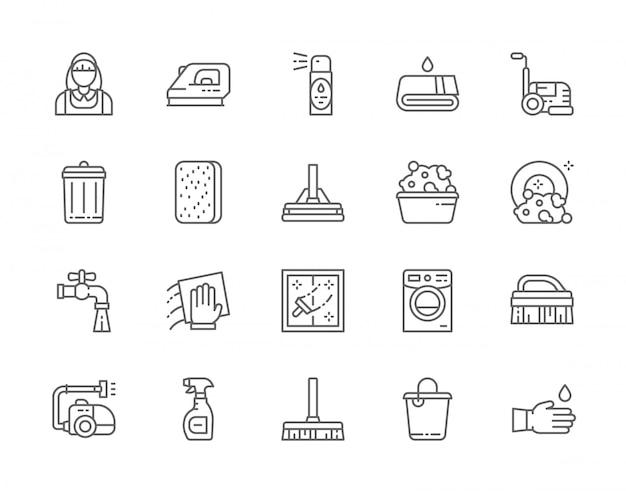 Conjunto de ícones de linha de limpeza.