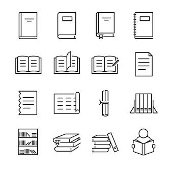 Conjunto de ícones de linha de livros.