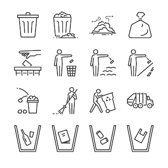 Conjunto de ícones de linha de lixo. Vetor Premium