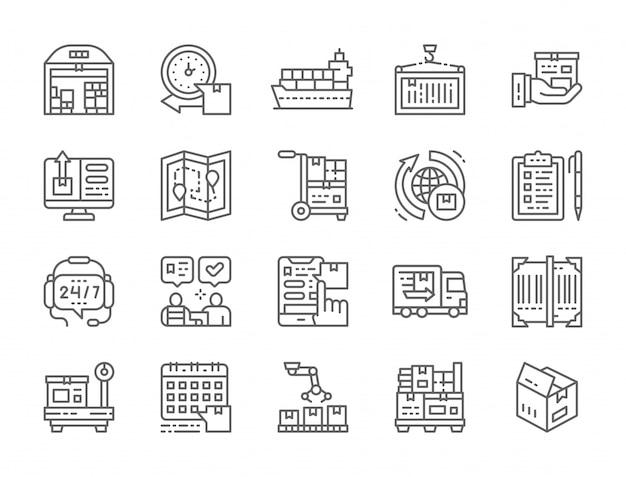 Conjunto de ícones de linha de logística e entrega