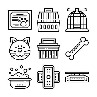 Conjunto de ícones de linha de loja de animais de estimação.