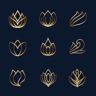 Conjunto de ícones de linha de lótus