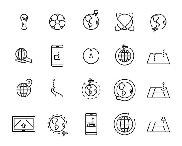 Conjunto de ícones de linha de mapa mundo