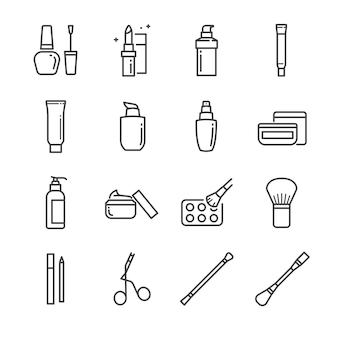 Conjunto de ícones de linha de maquiagem e cosméticos 1.