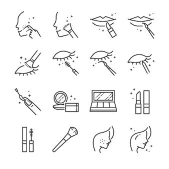 Conjunto de ícones de linha de maquiagem e cosméticos 2.
