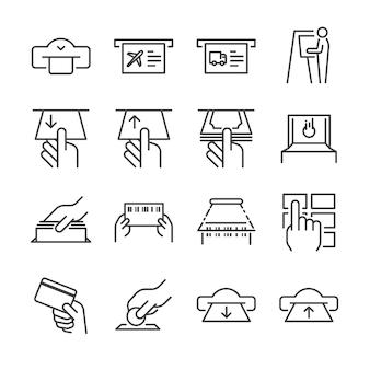 Conjunto de ícones de linha de máquina de bilhete 1.