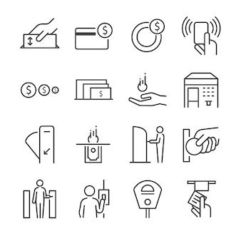 Conjunto de ícones de linha de máquina de bilhete 2.