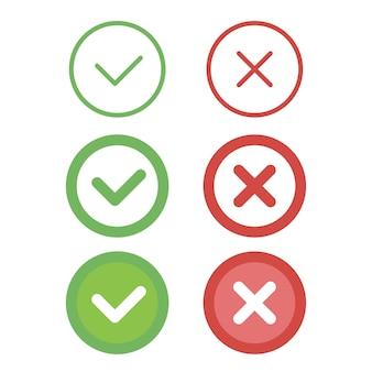 Conjunto de ícones de linha de marca de seleção.