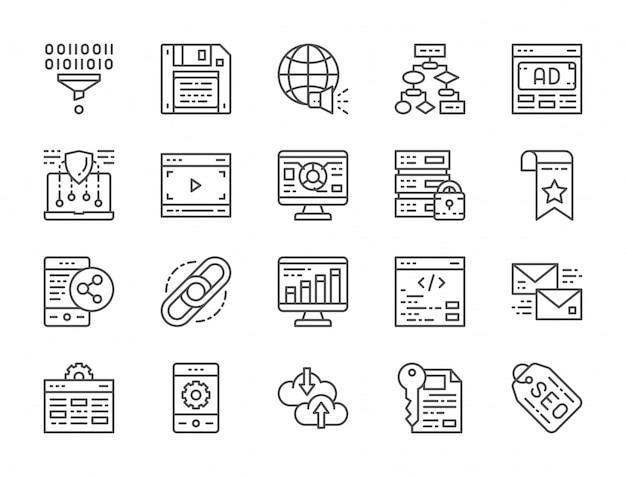 Conjunto de ícones de linha de marketing e seo. hospedagem, marcador, hiperlink e mais.