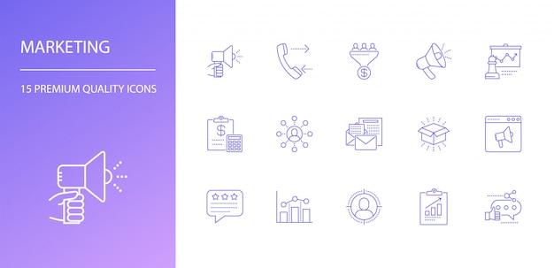 Conjunto de ícones de linha de marketing
