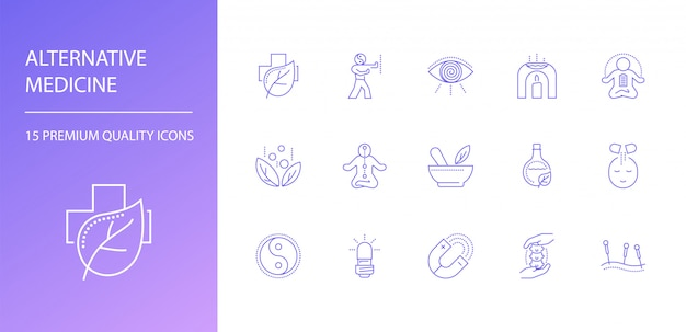 Conjunto de ícones de linha de medicina alternativa.