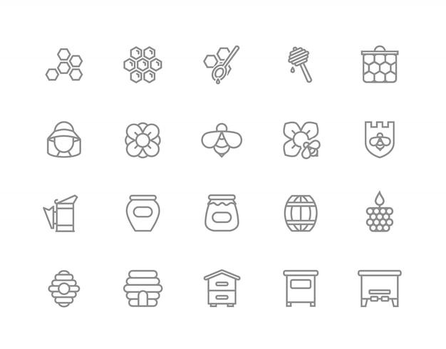 Conjunto de ícones de linha de mel. abelha, favo de mel, barril e muito mais.