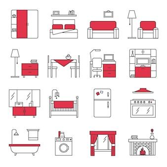 Conjunto de ícones de linha de móveis