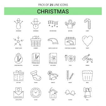 Conjunto de ícones de linha de natal - 25 estilo de contorno esboçado