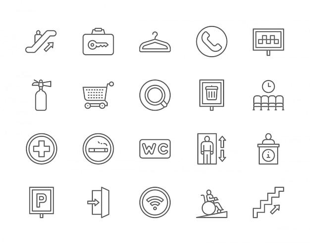 Conjunto de ícones de linha de navegação pública.