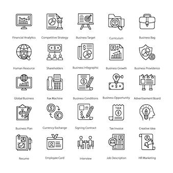 Conjunto de ícones de linha de negócios e rh