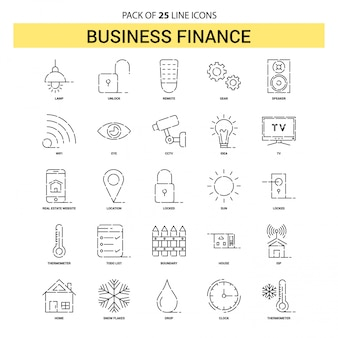 Conjunto de ícones de linha de negócios finanças - 25 estilo de contorno marcado