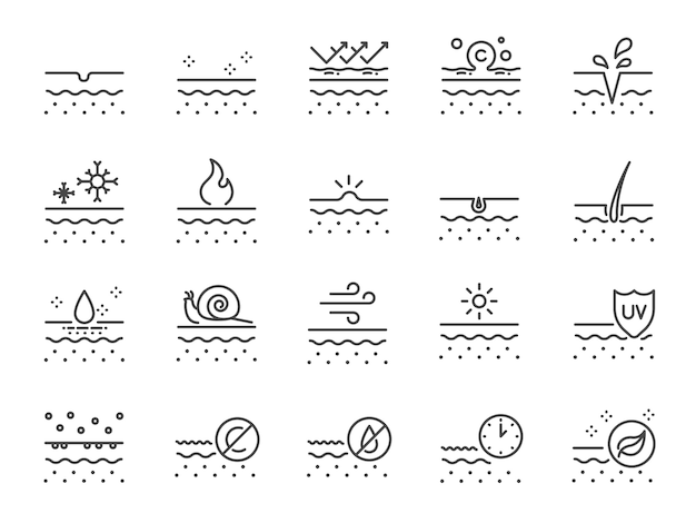 Conjunto de ícones de linha de pele.