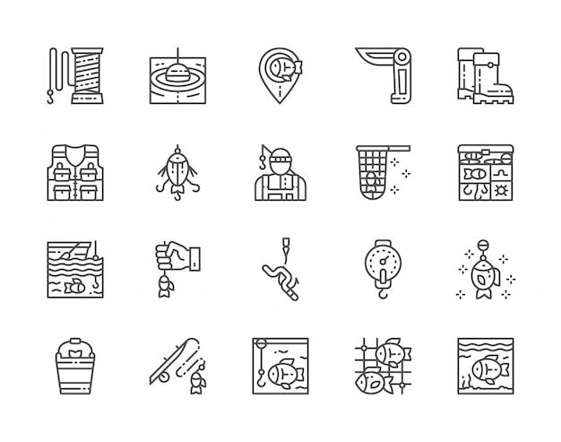 Conjunto de ícones de linha de pesca. jackknife, pescador, caixa de equipamento, aquário e muito mais.