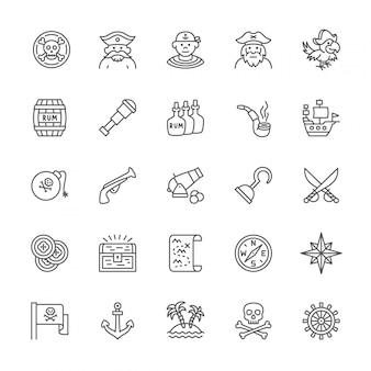 Conjunto de ícones de linha de piratas.