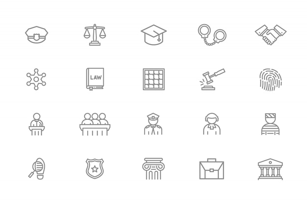 Conjunto de ícones de linha de polícia e justiça. júri, réu, juiz, oficial e muito mais.