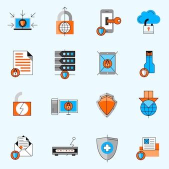 Conjunto de ícones de linha de proteção de dados