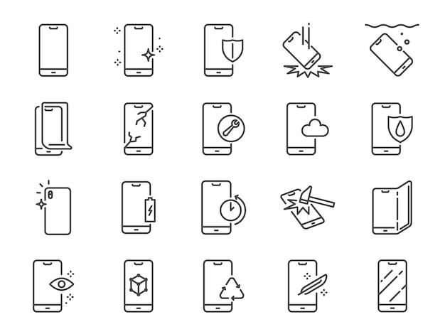 Conjunto de ícones de linha de proteção de smartphone.
