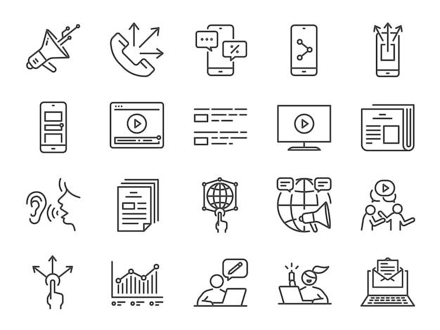 Conjunto de ícones de linha de publicidade.